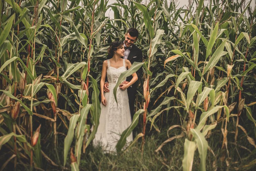 fotos de boda en la casona de las fraguas cantabria novios posando en maizal